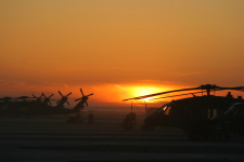 Choppers at sunset in Afghanistan